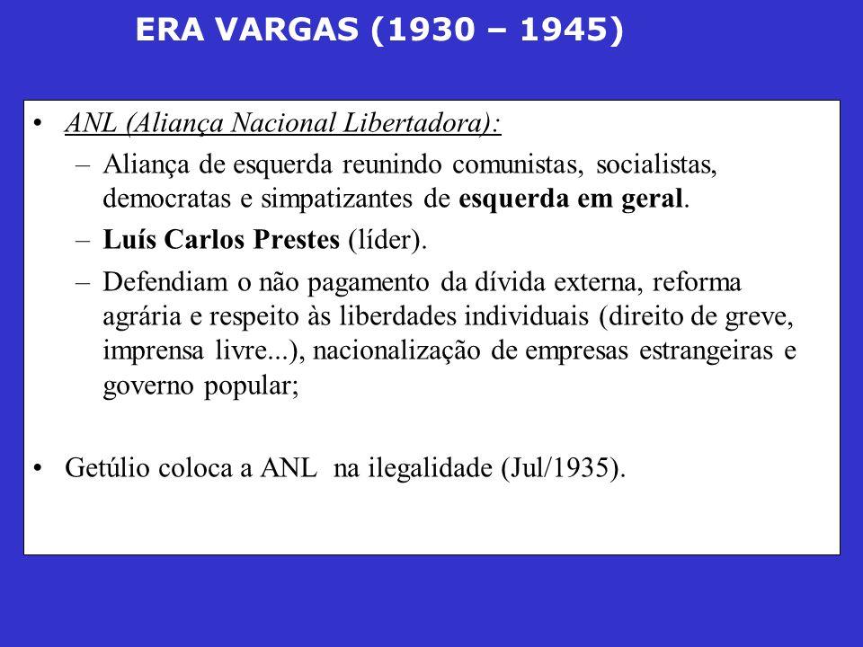 ERA VARGAS (1930 – 1945) ANL (Aliança Nacional Libertadora): –Aliança de esquerda reunindo comunistas, socialistas, democratas e simpatizantes de esqu