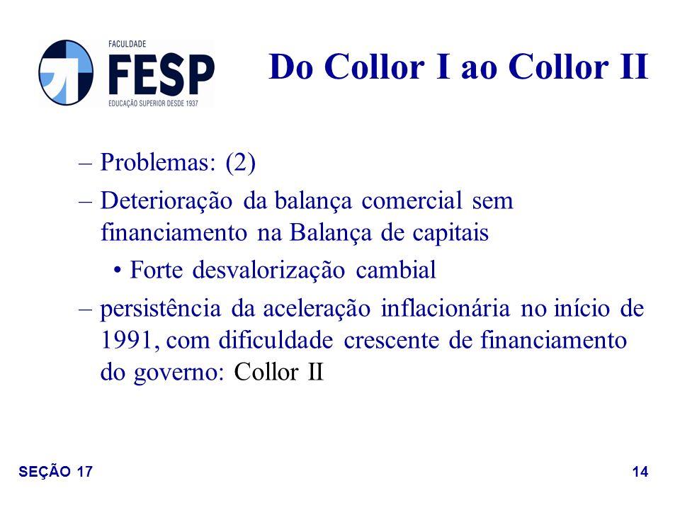 –Problemas: (2) –Deterioração da balança comercial sem financiamento na Balança de capitais Forte desvalorização cambial –persistência da aceleração i
