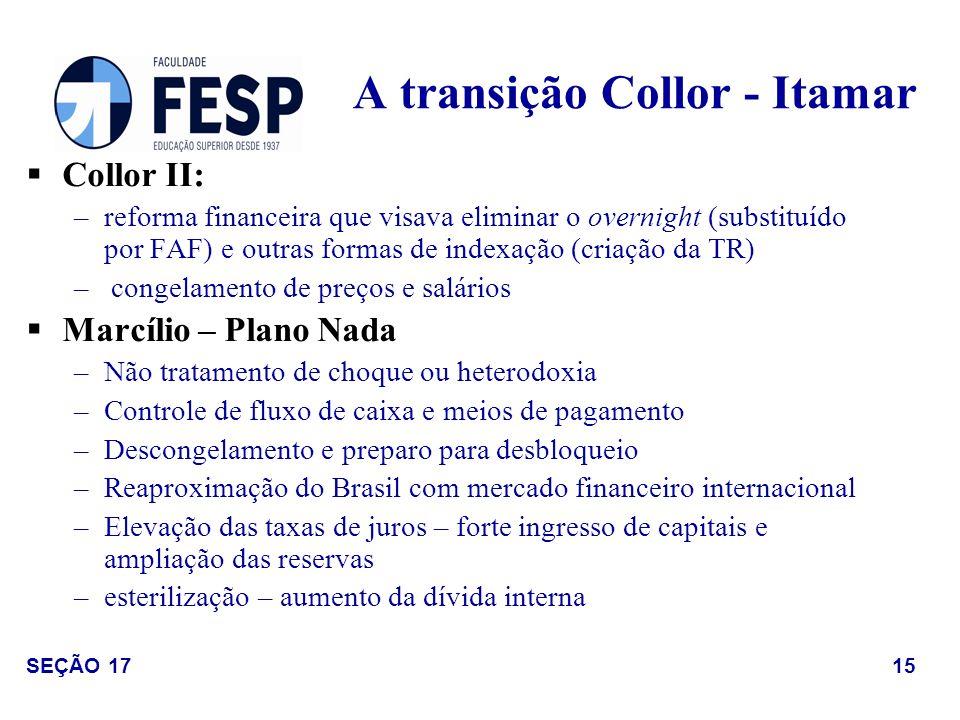 Collor II: –reforma financeira que visava eliminar o overnight (substituído por FAF) e outras formas de indexação (criação da TR) – congelamento de pr