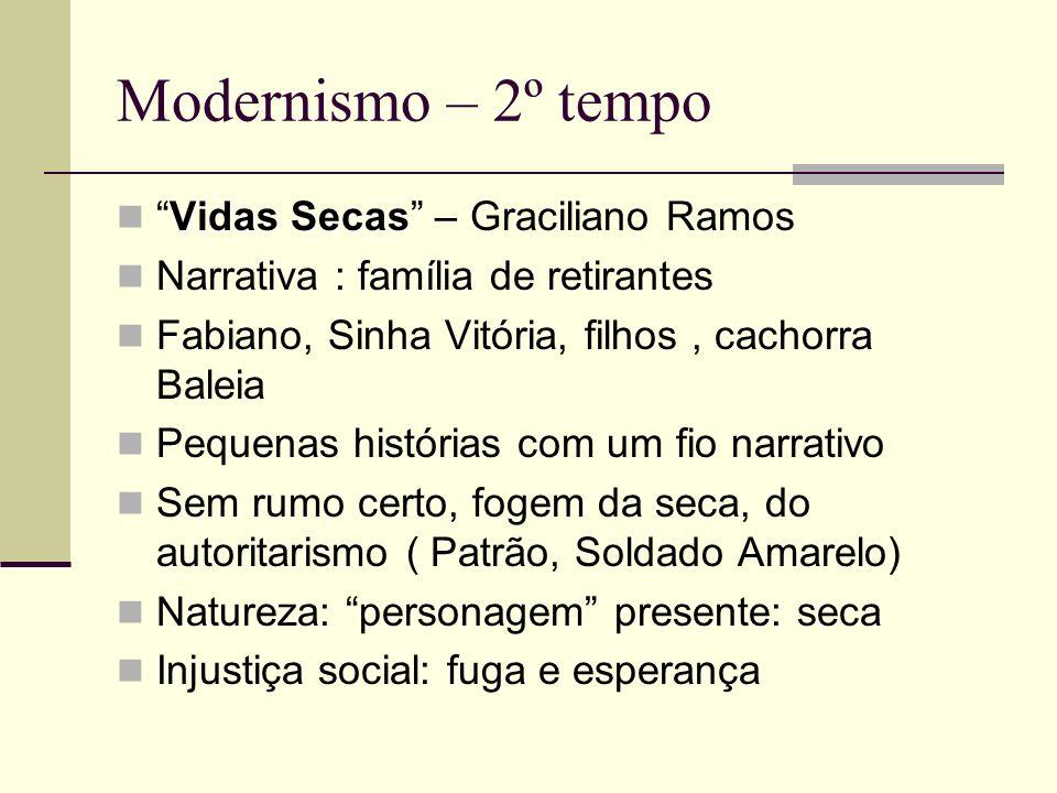 Modernismo – 2º tempo Vidas SecasVidas Secas – Graciliano Ramos Narrativa : família de retirantes Fabiano, Sinha Vitória, filhos, cachorra Baleia Pequ