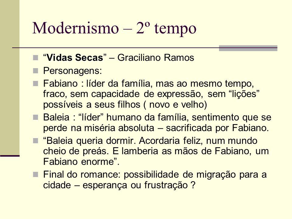 Modernismo – 2º tempo Vidas SecasVidas Secas – Graciliano Ramos Personagens: Fabiano : líder da família, mas ao mesmo tempo, fraco, sem capacidade de