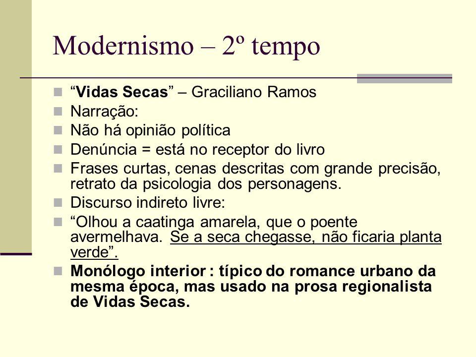 Modernismo – 2º tempo Vidas SecasVidas Secas – Graciliano Ramos Narração: Não há opinião política Denúncia = está no receptor do livro Frases curtas,