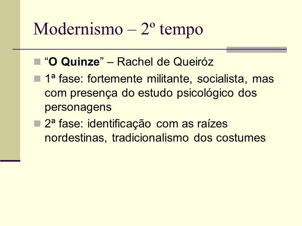 Modernismo – 2º tempo O QuinzeO Quinze – Rachel de Queiróz 1ª fase: fortemente militante, socialista, mas com presença do estudo psicológico dos perso
