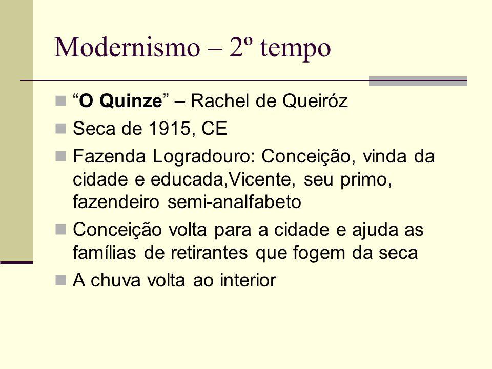 Modernismo – 2º tempo O QuinzeO Quinze – Rachel de Queiróz Seca de 1915, CE Fazenda Logradouro: Conceição, vinda da cidade e educada,Vicente, seu prim