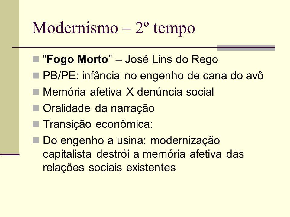 Modernismo – 2º tempo Fogo MortoFogo Morto – José Lins do Rego PB/PE: infância no engenho de cana do avô Memória afetiva X denúncia social Oralidade d
