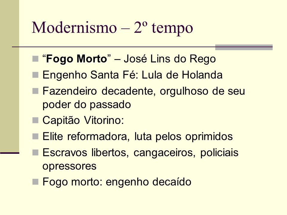 Modernismo – 2º tempo Fogo MortoFogo Morto – José Lins do Rego Engenho Santa Fé: Lula de Holanda Fazendeiro decadente, orgulhoso de seu poder do passa