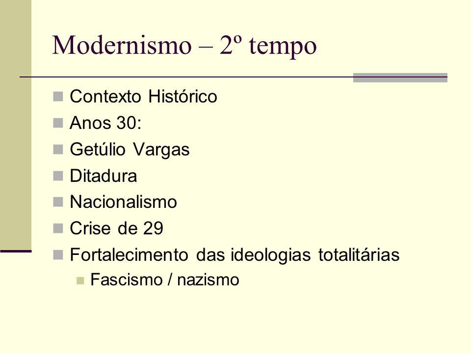 Modernismo – 2º tempo Contexto Histórico Anos 30: Getúlio Vargas Ditadura Nacionalismo Crise de 29 Fortalecimento das ideologias totalitárias Fascismo