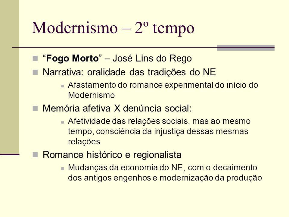 Modernismo – 2º tempo Fogo MortoFogo Morto – José Lins do Rego Narrativa: oralidade das tradições do NE Afastamento do romance experimental do início