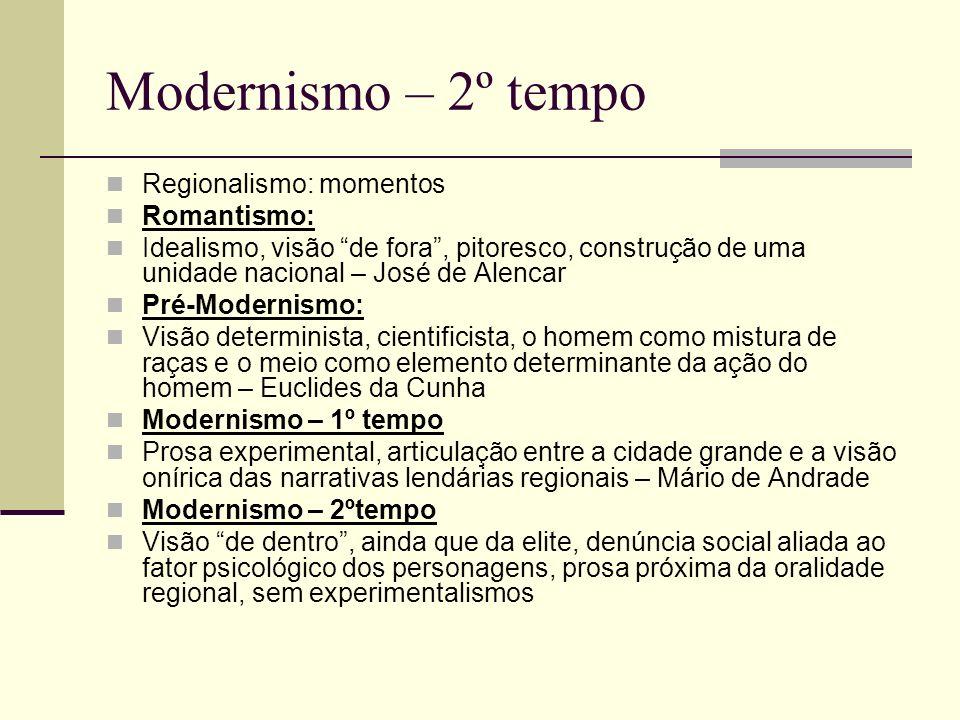 Modernismo – 2º tempo Regionalismo: momentos Romantismo: Idealismo, visão de fora, pitoresco, construção de uma unidade nacional – José de Alencar Pré