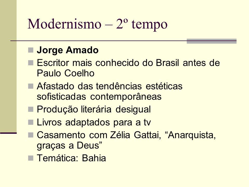 Modernismo – 2º tempo Jorge Amado Escritor mais conhecido do Brasil antes de Paulo Coelho Afastado das tendências estéticas sofisticadas contemporânea