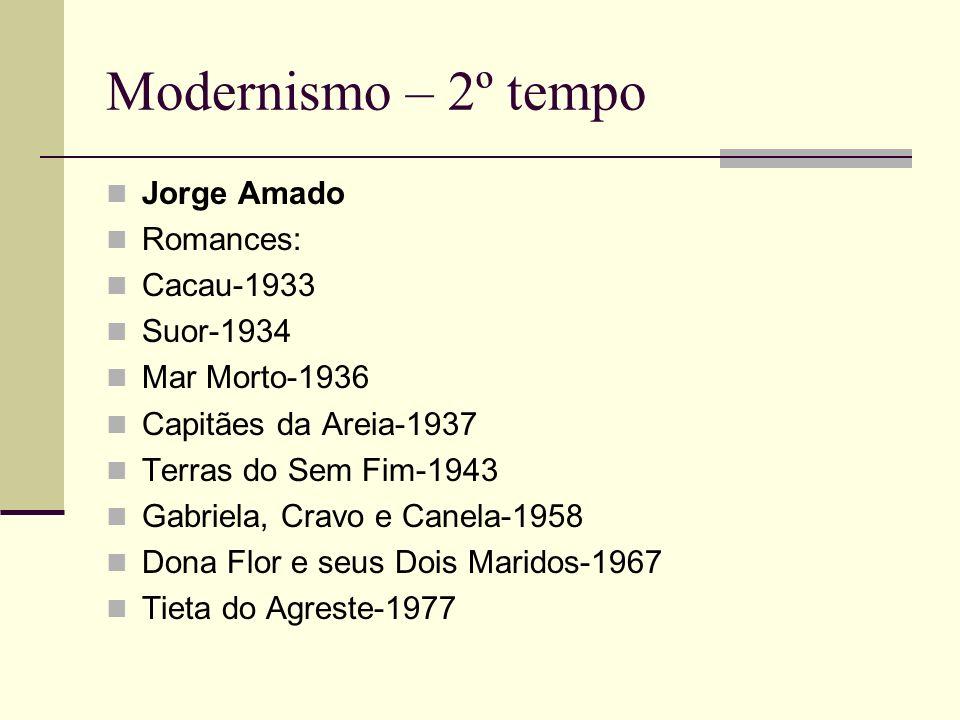 Modernismo – 2º tempo Jorge Amado Romances: Cacau-1933 Suor-1934 Mar Morto-1936 Capitães da Areia-1937 Terras do Sem Fim-1943 Gabriela, Cravo e Canela