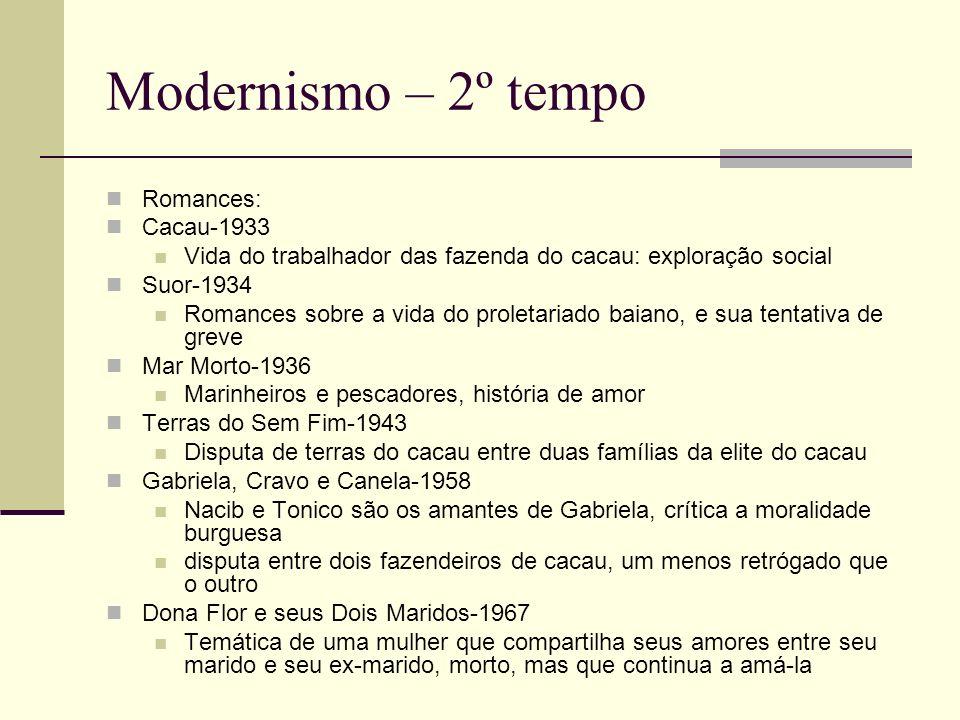 Modernismo – 2º tempo Romances: Cacau-1933 Vida do trabalhador das fazenda do cacau: exploração social Suor-1934 Romances sobre a vida do proletariado