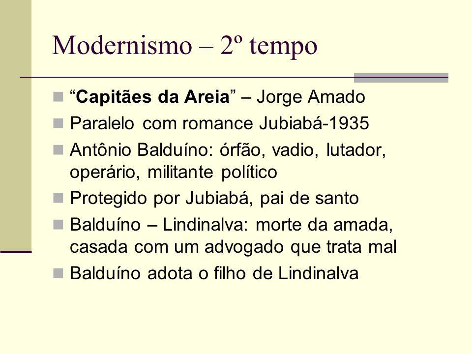 Modernismo – 2º tempo Capitães da AreiaCapitães da Areia – Jorge Amado Paralelo com romance Jubiabá-1935 Antônio Balduíno: órfão, vadio, lutador, oper