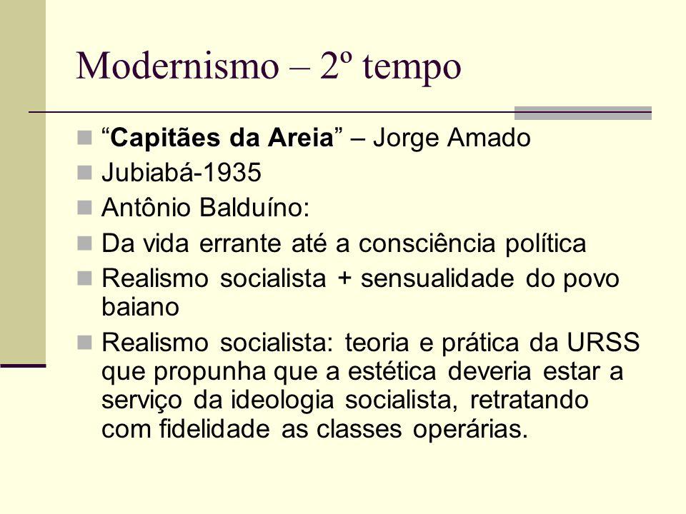Modernismo – 2º tempo Capitães da AreiaCapitães da Areia – Jorge Amado Jubiabá-1935 Antônio Balduíno: Da vida errante até a consciência política Reali
