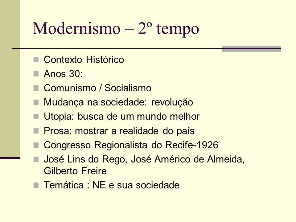 Modernismo – 2º tempo Contexto Histórico Anos 30: Comunismo / Socialismo Mudança na sociedade: revolução Utopia: busca de um mundo melhor Prosa: mostr