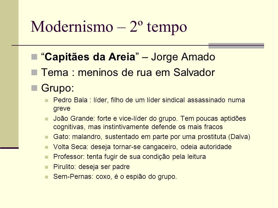 Modernismo – 2º tempo Capitães da AreiaCapitães da Areia – Jorge Amado Tema : meninos de rua em Salvador Grupo: Pedro Bala : líder, filho de um líder