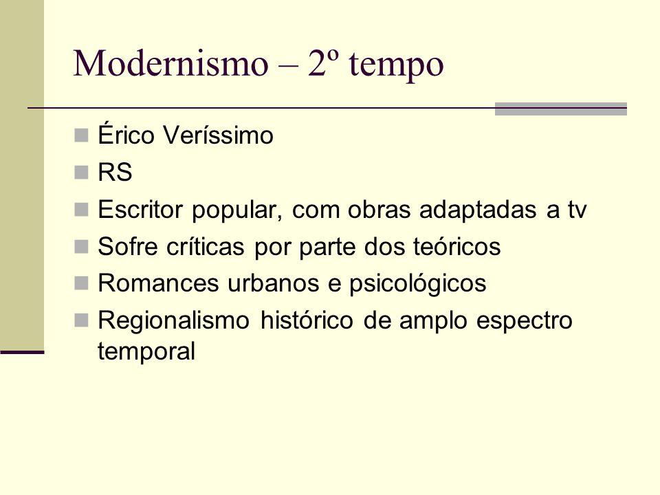 Modernismo – 2º tempo Érico Veríssimo RS Escritor popular, com obras adaptadas a tv Sofre críticas por parte dos teóricos Romances urbanos e psicológi