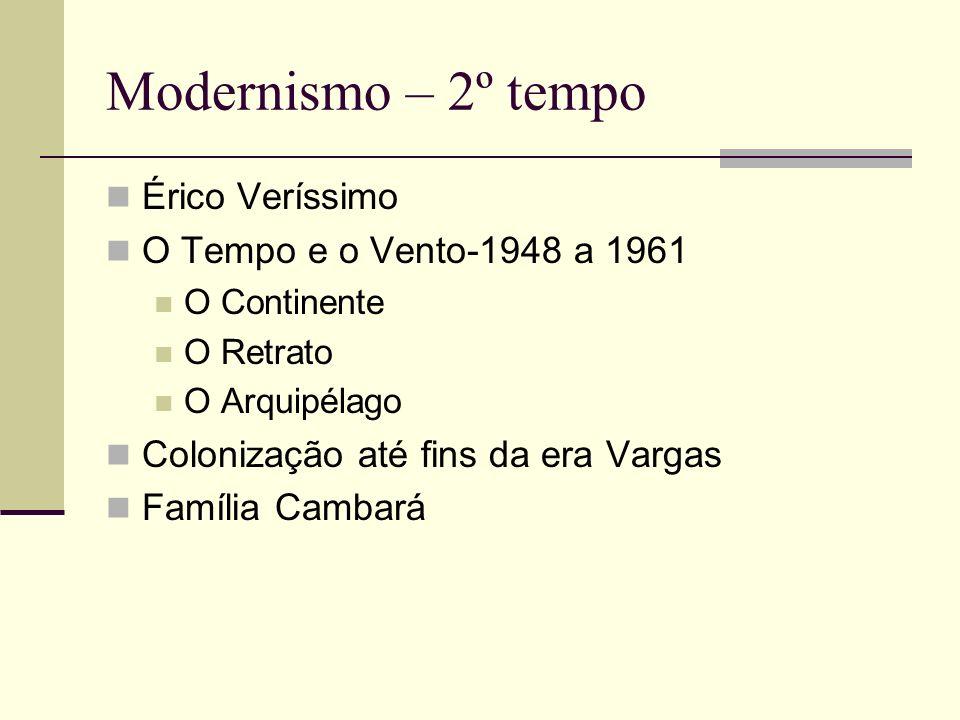 Modernismo – 2º tempo Érico Veríssimo O Tempo e o Vento-1948 a 1961 O Continente O Retrato O Arquipélago Colonização até fins da era Vargas Família Ca