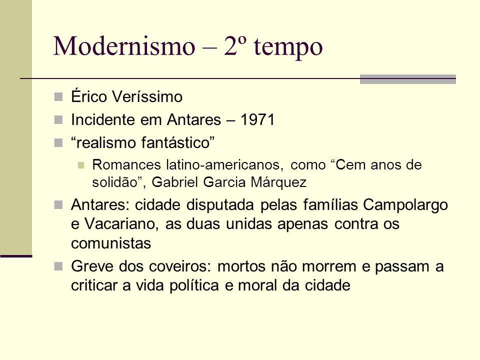 Modernismo – 2º tempo Érico Veríssimo Incidente em Antares – 1971 realismo fantástico Romances latino-americanos, como Cem anos de solidão, Gabriel Ga