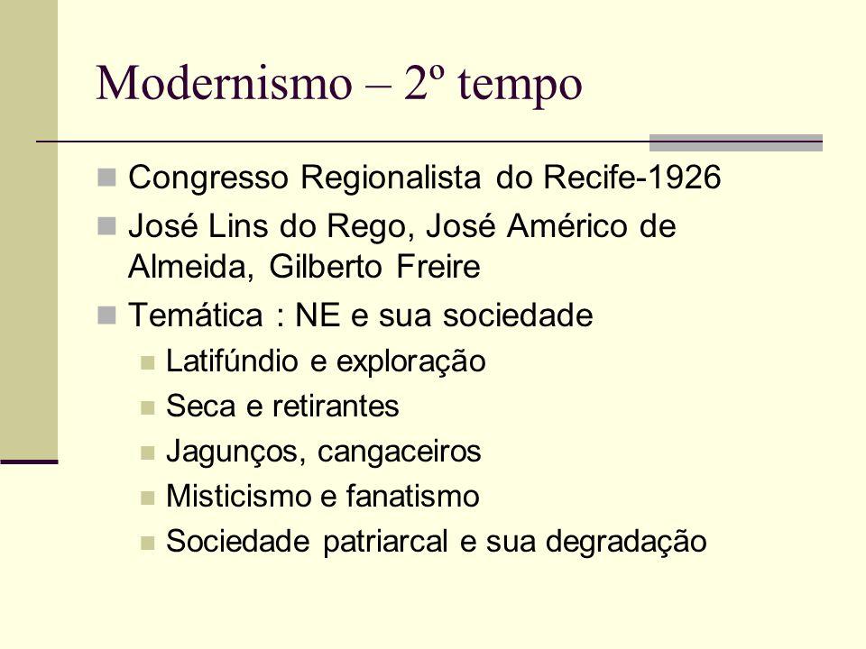 Modernismo – 2º tempo Congresso Regionalista do Recife-1926 José Lins do Rego, José Américo de Almeida, Gilberto Freire Temática : NE e sua sociedade
