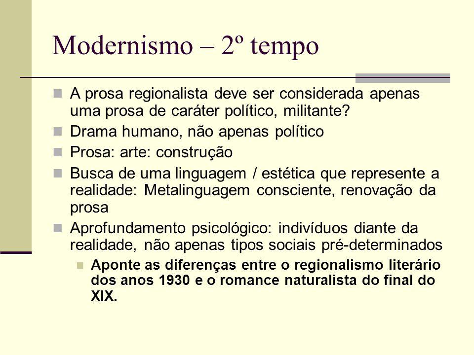 Modernismo – 2º tempo A prosa regionalista deve ser considerada apenas uma prosa de caráter político, militante? Drama humano, não apenas político Pro