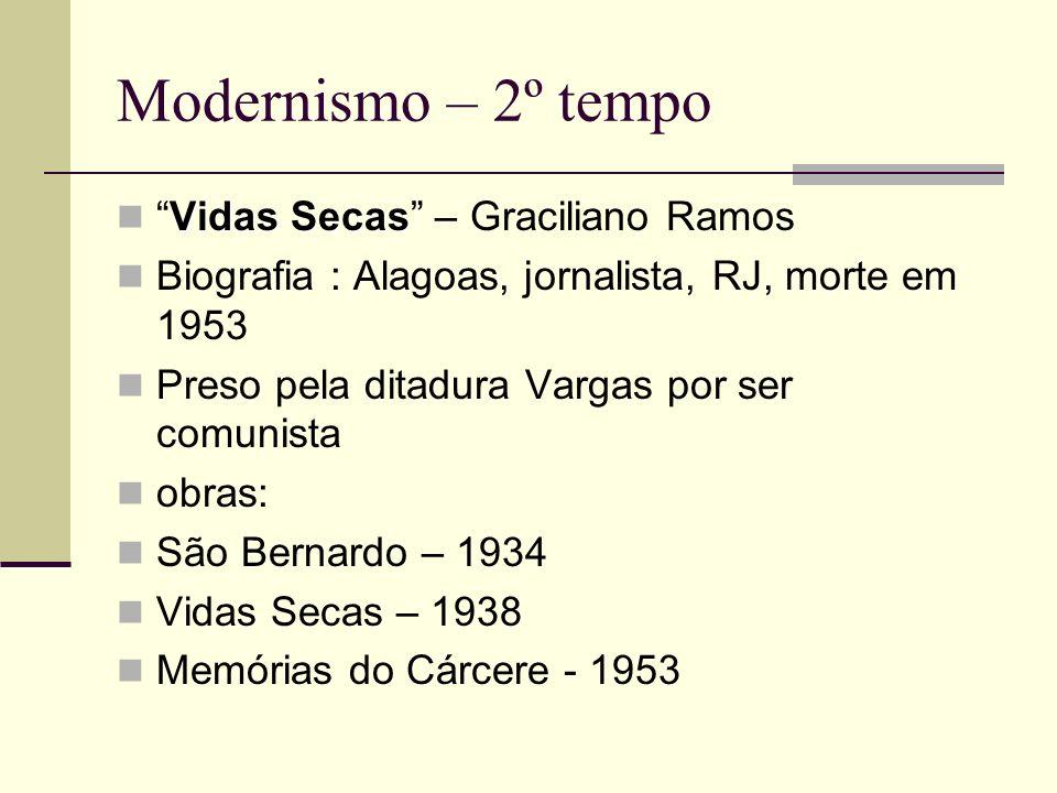 Modernismo – 2º tempo Vidas SecasVidas Secas – Graciliano Ramos Biografia : Alagoas, jornalista, RJ, morte em 1953 Preso pela ditadura Vargas por ser