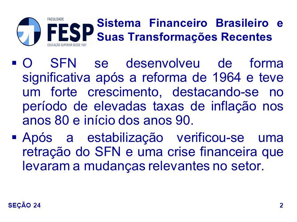 Lei n o 4.595 – Lei da Reforma Bancária, criação do Banco Central do Brasil e do Conselho Monetário Nacional (CMN); Lei n o 4.380 – Criação do Sistema Financeiro da Habitação (SFH) e do Banco Nacional da Habitação (BNH); Lei n o 4.728 – Reforma do Mercado de Capitais.