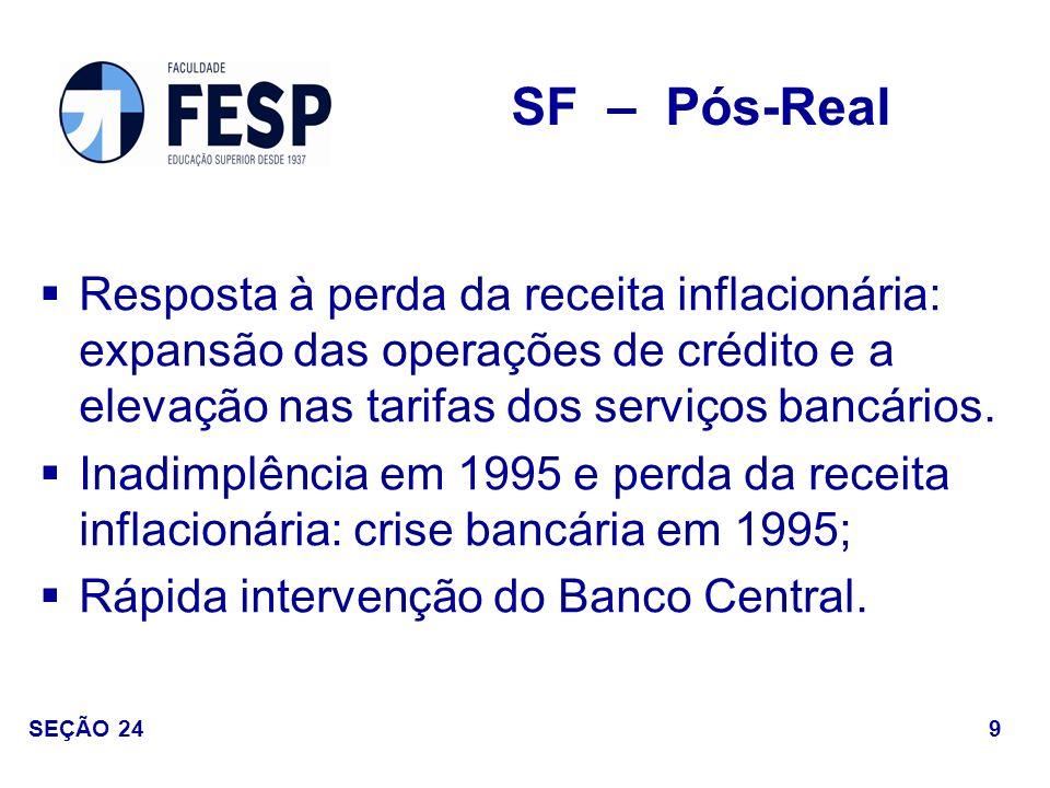 Medidas - Estímulos às fusões e incorporações bancárias: a.PROER: valores liberados superaram R$ 20 bilhões até 1997); b.Aumento do poder do Banco Central para intervir nas instituições.