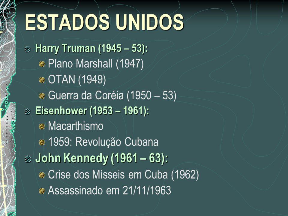 ESTADOS UNIDOS Harry Truman (1945 – 53): Plano Marshall (1947) OTAN (1949) Guerra da Coréia (1950 – 53) Eisenhower (1953 – 1961): Macarthismo 1959: Re