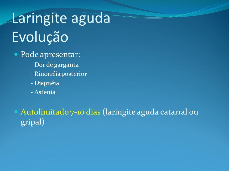 Laringite aguda Evolução Pode apresentar: - Dor de garganta - Rinorréia posterior - Dispnéia - Astenia Autolimitado 7-10 dias (laringite aguda catarra