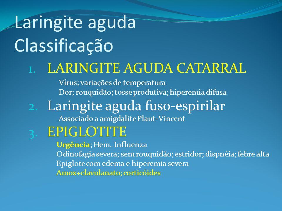 Laringite aguda Classificação 1. LARINGITE AGUDA CATARRAL Vírus; variações de temperatura Dor; rouquidão; tosse produtiva; hiperemia difusa 2. Laringi