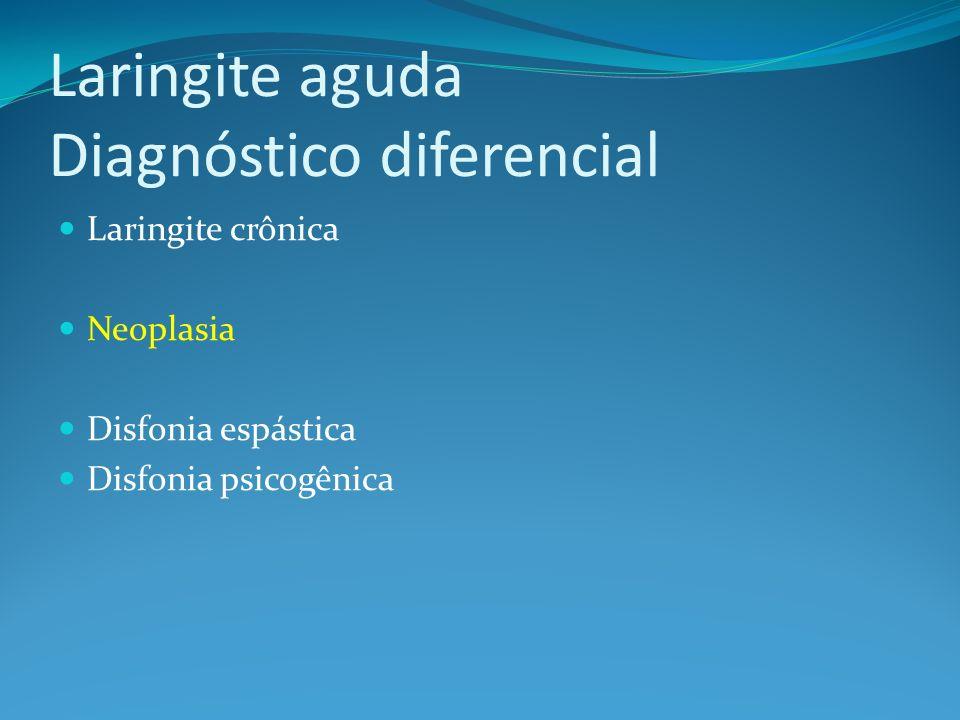 Laringite aguda Diagnóstico diferencial Laringite crônica Neoplasia Disfonia espástica Disfonia psicogênica