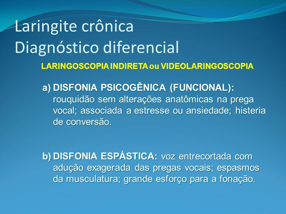 Laringite crônica Diagnóstico diferencial LARINGOSCOPIA INDIRETA ou VIDEOLARINGOSCOPIA a)DISFONIA PSICOGÊNICA (FUNCIONAL): rouquidão sem alterações an