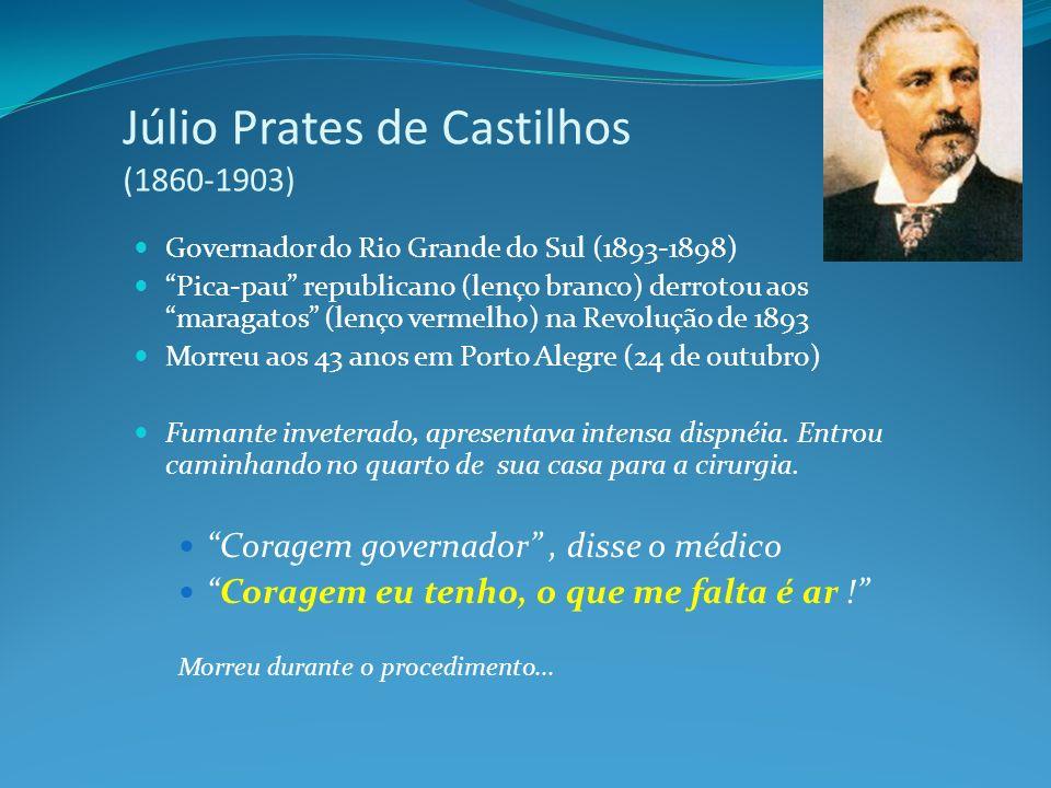 Júlio Prates de Castilhos (1860-1903) Governador do Rio Grande do Sul (1893-1898) Pica-pau republicano (lenço branco) derrotou aos maragatos (lenço ve
