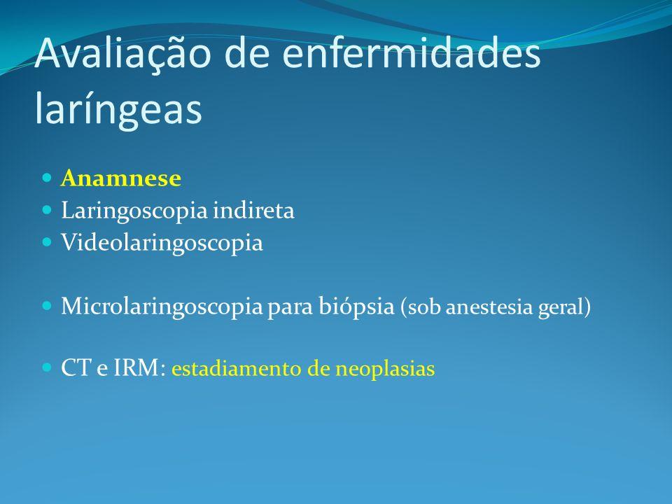 Avaliação de enfermidades laríngeas Anamnese Laringoscopia indireta Videolaringoscopia Microlaringoscopia para biópsia (sob anestesia geral) CT e IRM: