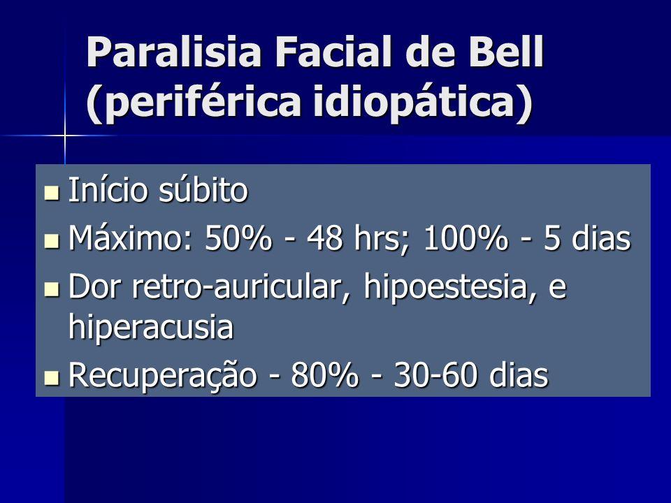 Início súbito Início súbito Máximo: 50% - 48 hrs; 100% - 5 dias Máximo: 50% - 48 hrs; 100% - 5 dias Dor retro-auricular, hipoestesia, e hiperacusia Do