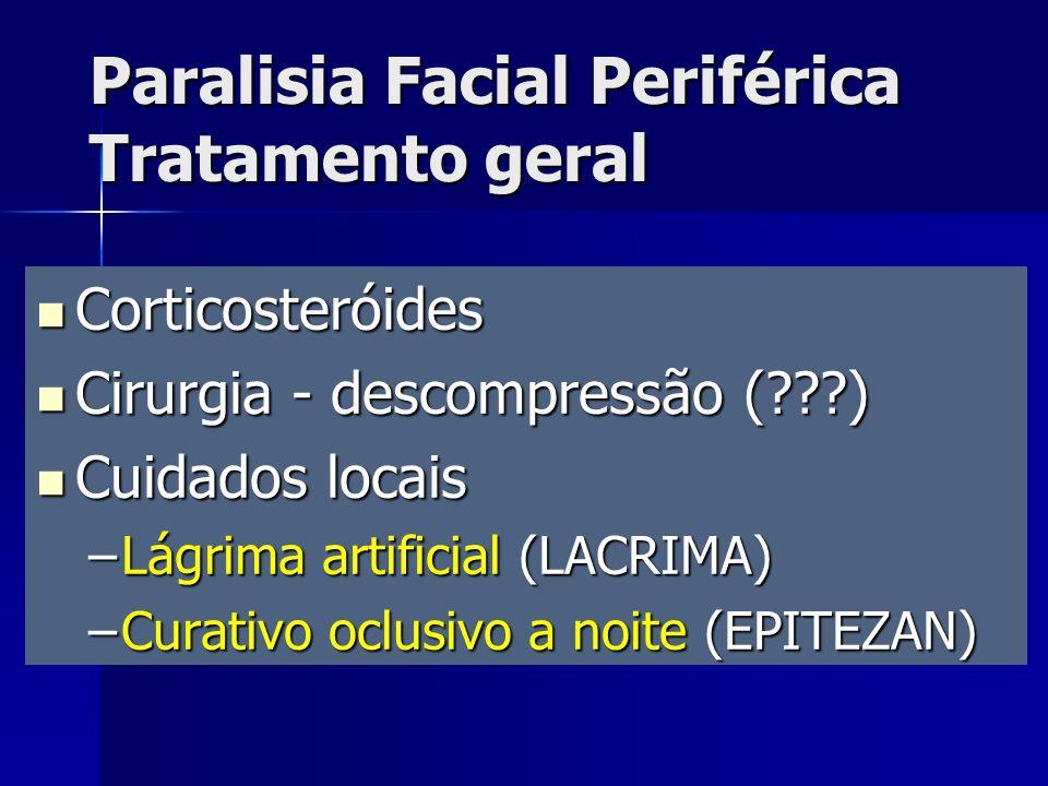 Corticosteróides Corticosteróides Cirurgia - descompressão (???) Cirurgia - descompressão (???) Cuidados locais Cuidados locais –Lágrima artificial (L