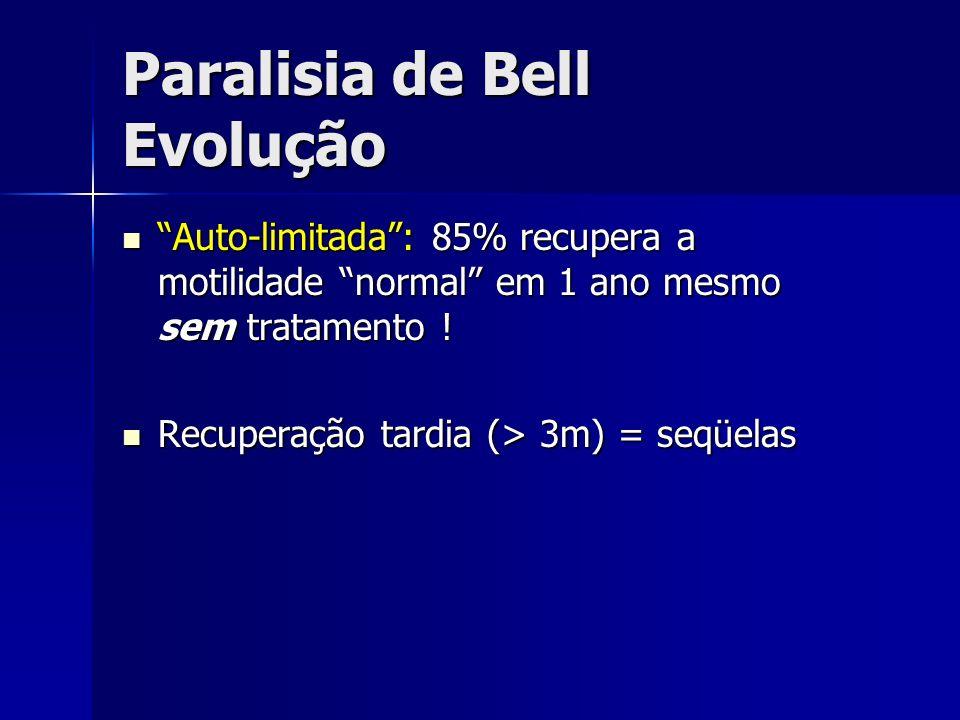 Paralisia de Bell Evolução Auto-limitada: 85% recupera a motilidade normal em 1 ano mesmo sem tratamento ! Auto-limitada: 85% recupera a motilidade no