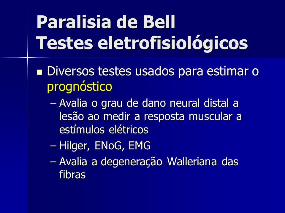 Paralisia de Bell Testes eletrofisiológicos Diversos testes usados para estimar o prognóstico Diversos testes usados para estimar o prognóstico –Avali