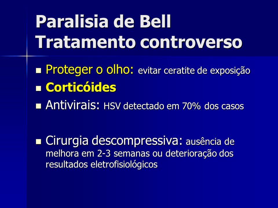Paralisia de Bell Tratamento controverso Proteger o olho: evitar ceratite de exposição Proteger o olho: evitar ceratite de exposição Corticóides Corti