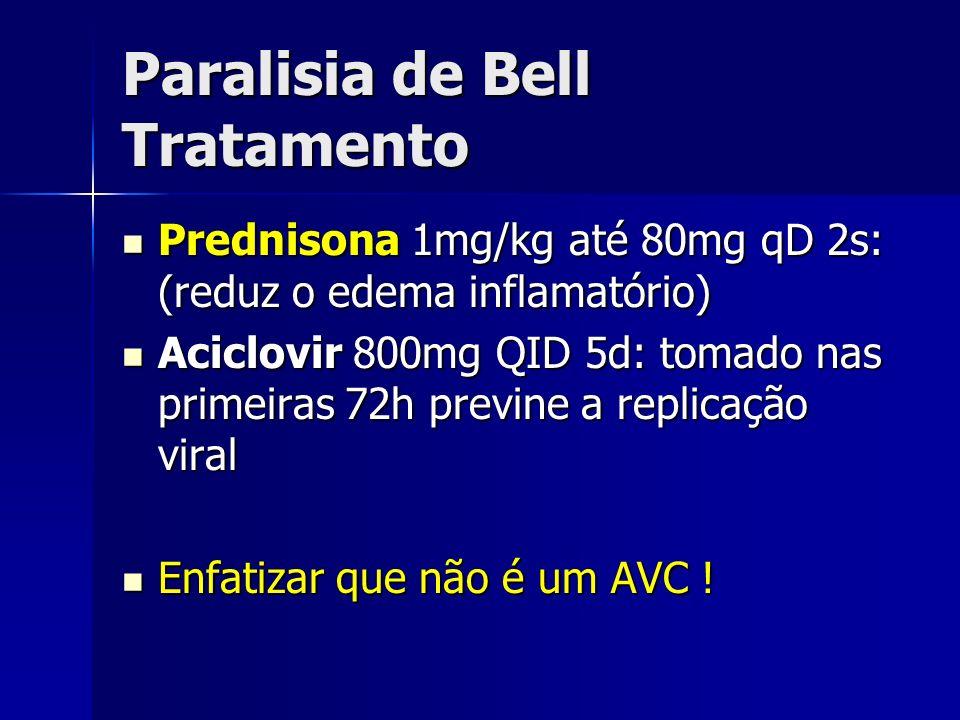 Paralisia de Bell Tratamento Prednisona 1mg/kg até 80mg qD 2s: (reduz o edema inflamatório) Prednisona 1mg/kg até 80mg qD 2s: (reduz o edema inflamató
