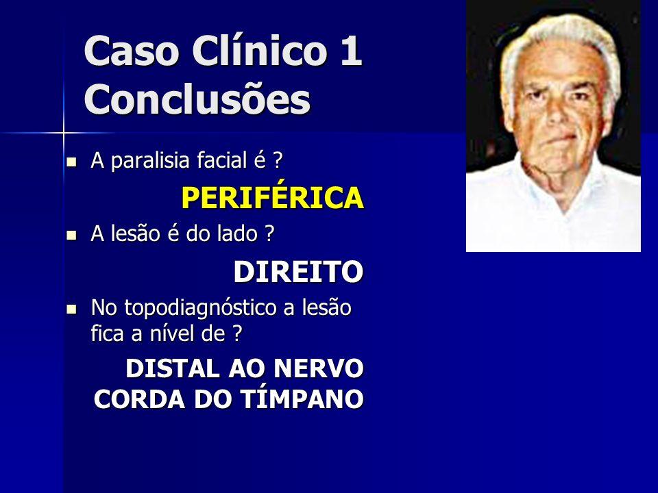 Caso Clínico 1 Conclusões A paralisia facial é ? A paralisia facial é ?PERIFÉRICA A lesão é do lado ? A lesão é do lado ?DIREITO No topodiagnóstico a