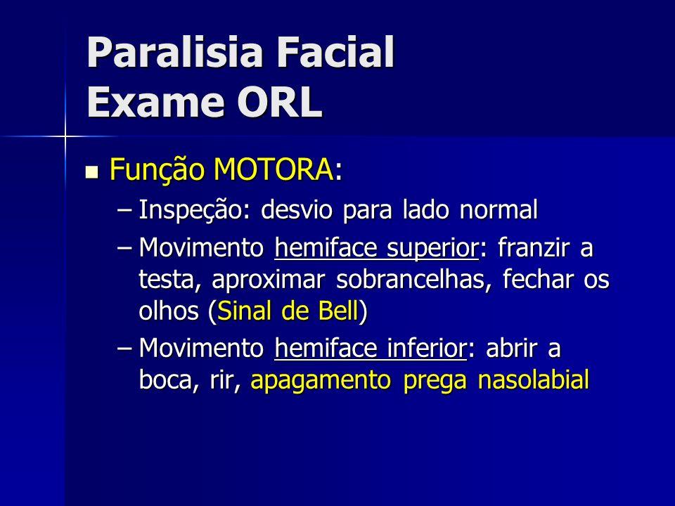 Paralisia Facial Exame ORL Função MOTORA: Função MOTORA: –Inspeção: desvio para lado normal –Movimento hemiface superior: franzir a testa, aproximar s