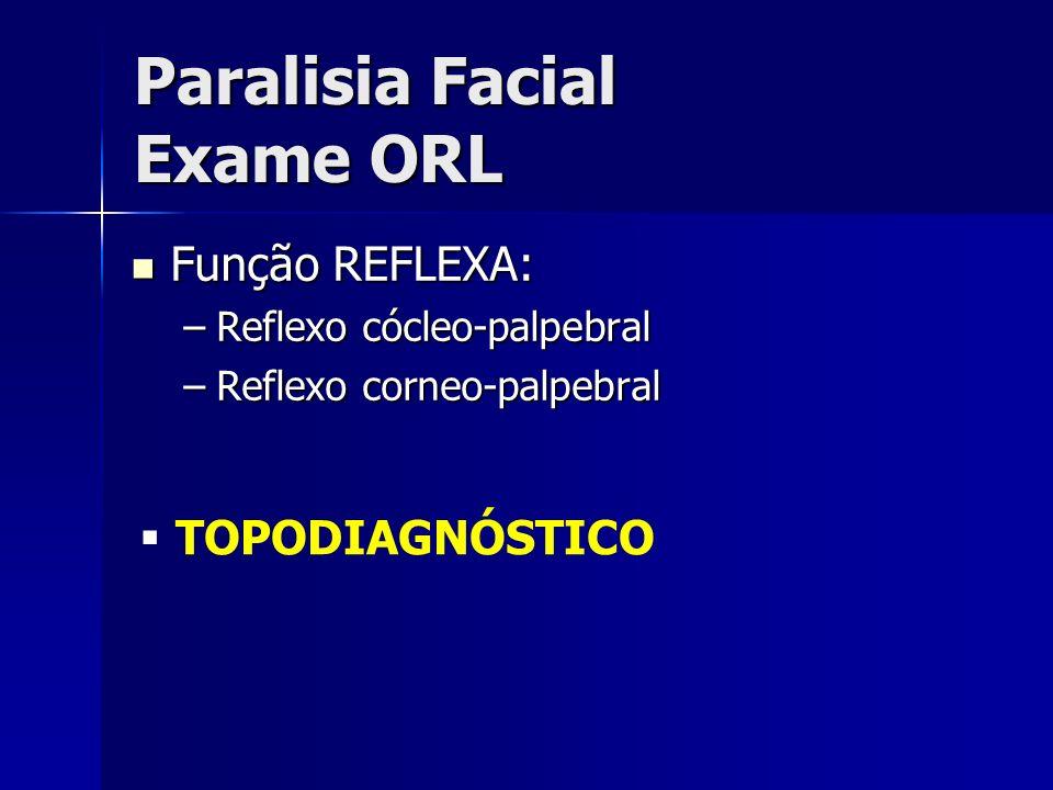 Paralisia Facial Exame ORL Função REFLEXA: Função REFLEXA: –Reflexo cócleo-palpebral –Reflexo corneo-palpebral TOPODIAGNÓSTICO