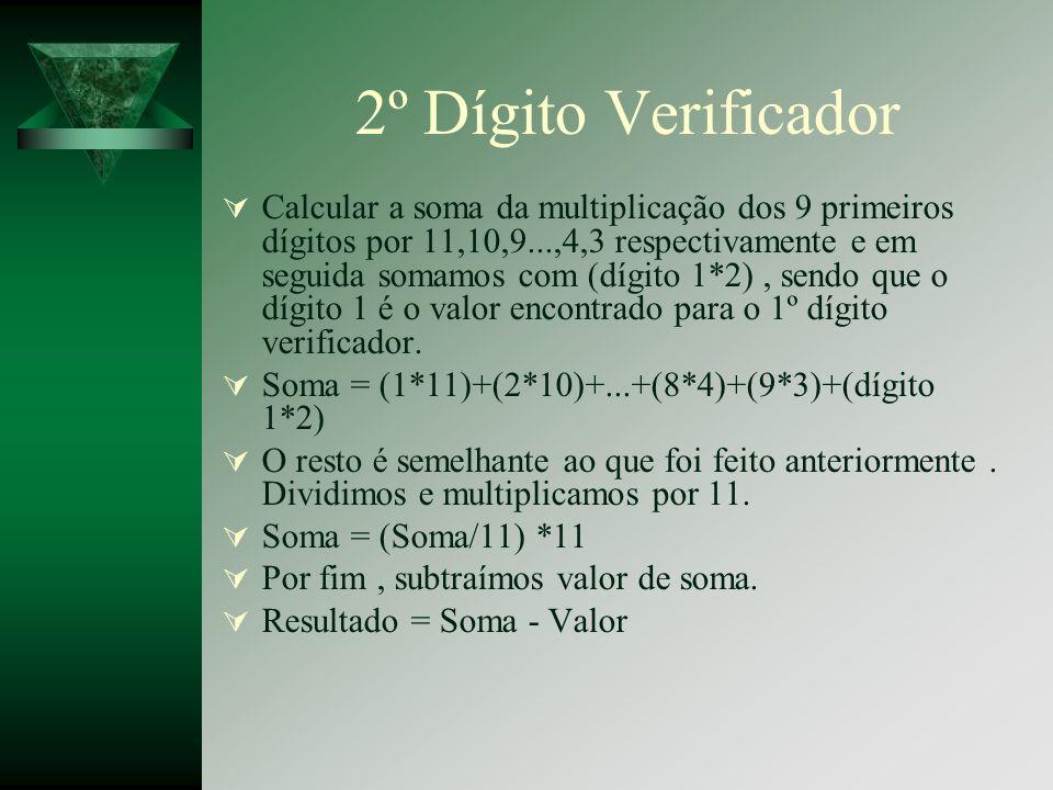 2º Dígito Verificador Calcular a soma da multiplicação dos 9 primeiros dígitos por 11,10,9...,4,3 respectivamente e em seguida somamos com (dígito 1*2