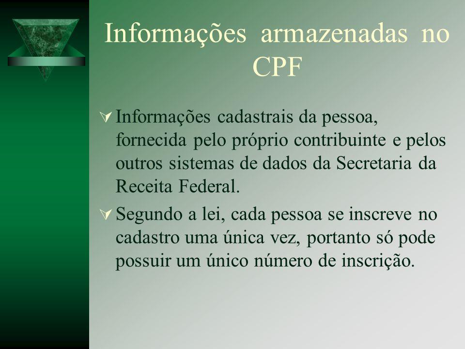 Informações armazenadas no CPF Informações cadastrais da pessoa, fornecida pelo próprio contribuinte e pelos outros sistemas de dados da Secretaria da