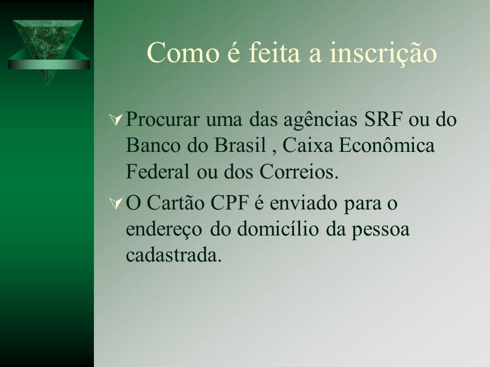 Como é feita a inscrição Procurar uma das agências SRF ou do Banco do Brasil, Caixa Econômica Federal ou dos Correios. O Cartão CPF é enviado para o e