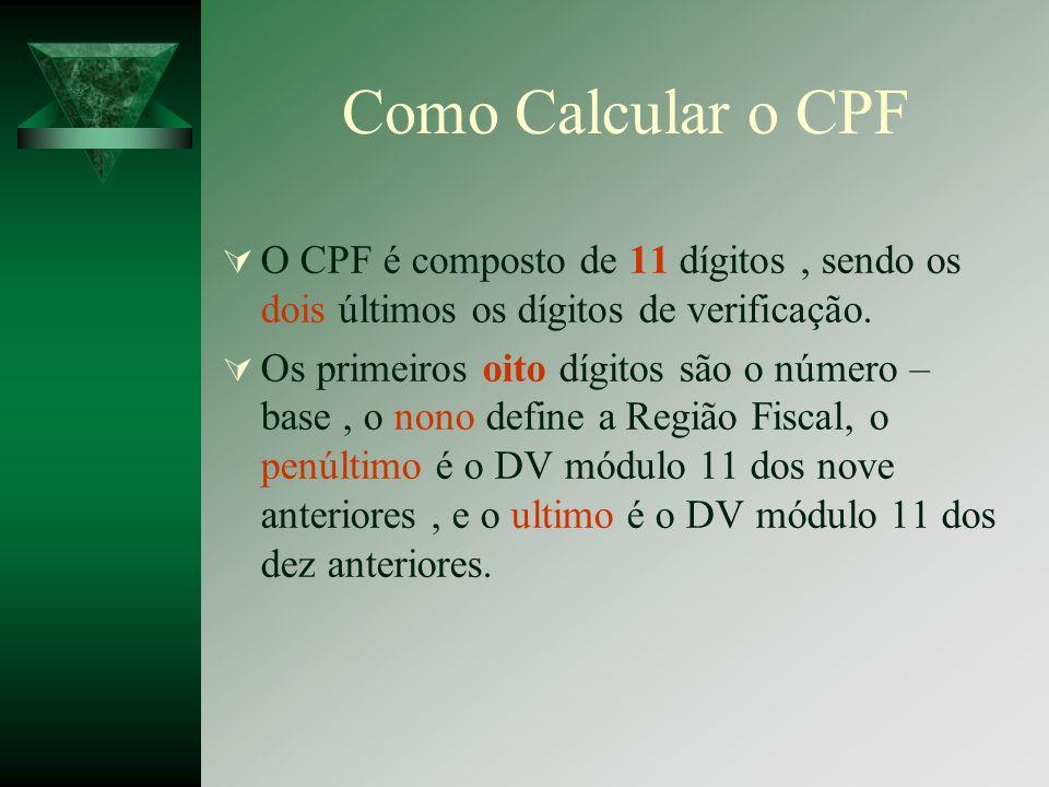 Como Calcular o CPF O CPF é composto de 11 dígitos, sendo os dois últimos os dígitos de verificação. Os primeiros oito dígitos são o número – base, o