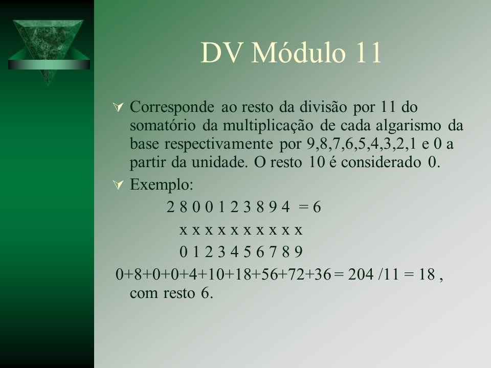 DV Módulo 11 Corresponde ao resto da divisão por 11 do somatório da multiplicação de cada algarismo da base respectivamente por 9,8,7,6,5,4,3,2,1 e 0