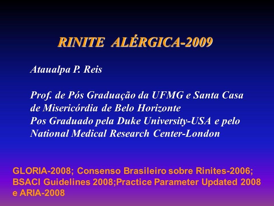 RINITE ALÉRGICA-2009 RINITE ALÉRGICA-2009 Ataualpa P. Reis Prof. de Pós Graduação da UFMG e Santa Casa de Misericórdia de Belo Horizonte Pos Graduado